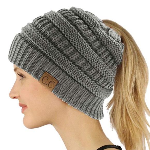 CC Soft Knit Grey Ponytail (Messy Bun) Beanie 53fff7ae5de1